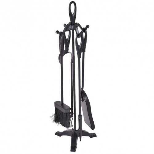 5 pcs Stylish Black Iron Fireplace Tools Set