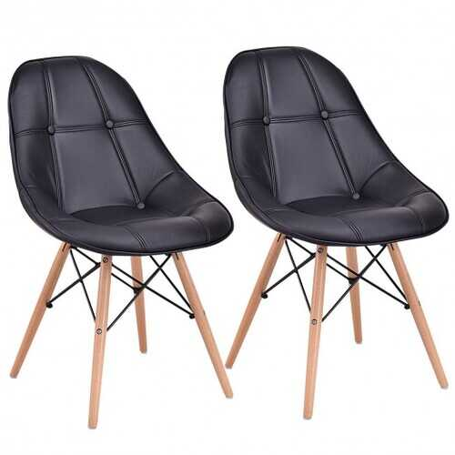 Set of 2 Armless PU Leather Dining Chairs w/ Wood Legs-Black