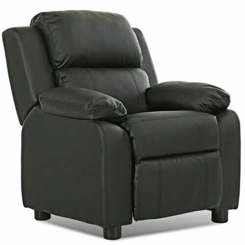 Kids Deluxe Headrest  Recliner Sofa Chair with Storage Arms-Black