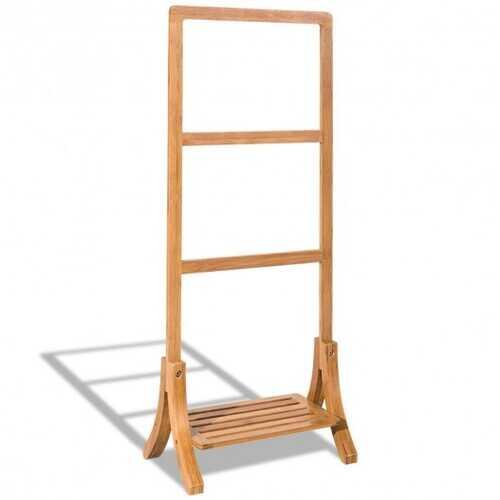 Free Standing Bamboo Towel Rack with Bottom Shelf