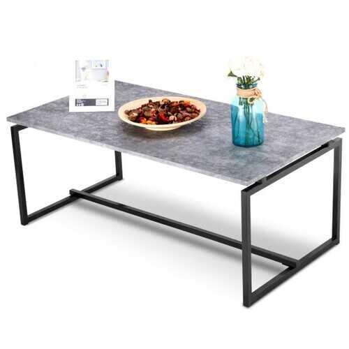 Metal Frame Cocktail Coffee Table-Gray