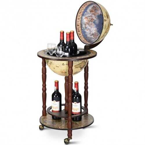 "17"" Italian Style Design Wooden Globe Liquor Bottle Wine Rack with Wheels"
