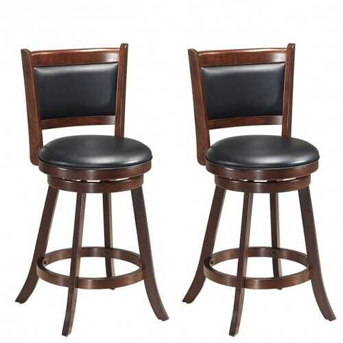 """Set of 2 24"""" Accent Wooden Swivel Bar Stools with High Back and Upholstered Seat-29"""""""