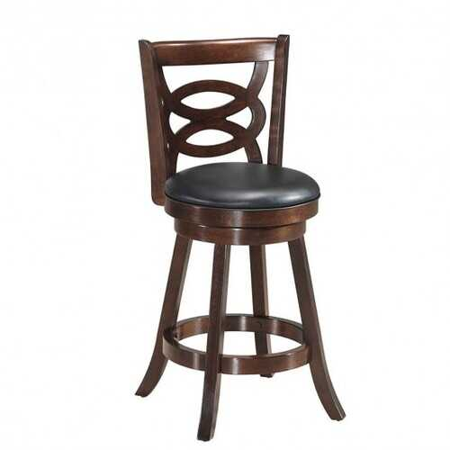 """Counter Height Upholstered Espresso Swivel Dining Chair-24"""""""