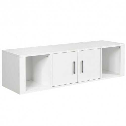 Wall Mounted Floating 2 Door Desk Hutch Storage Shelves