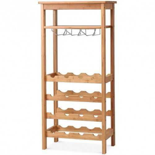 16 Bottles Bamboo Storage Wine Rack with Glass Hanger