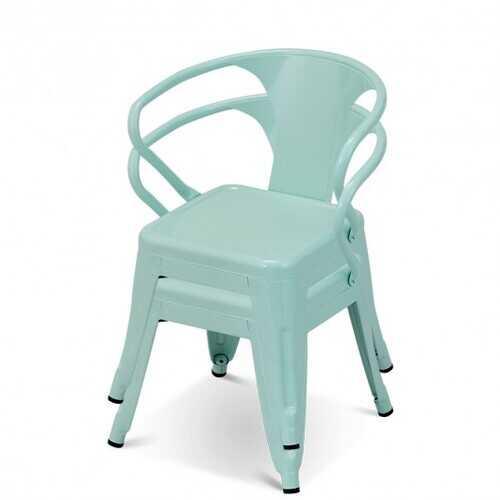 Set of 2 Steel Armchair Stackable Kids Chairs-Green