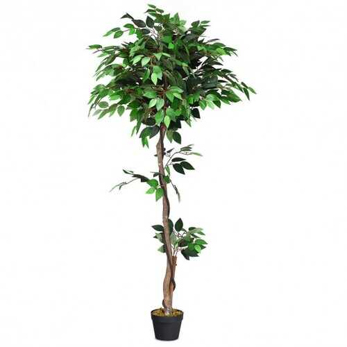 5.5 ft Artificial Ficus Silk Tree with Wood Trunks