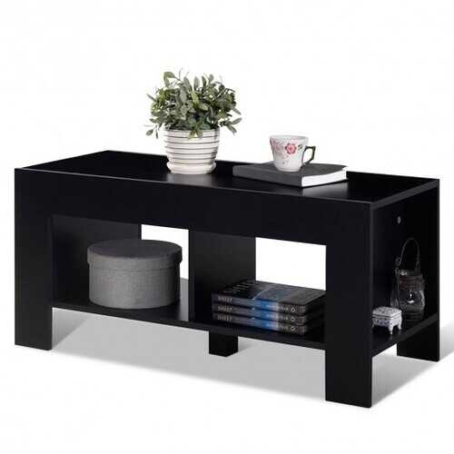 2-tier Wood Coffee Table Sofa Side Table with Storage Shelf-Black