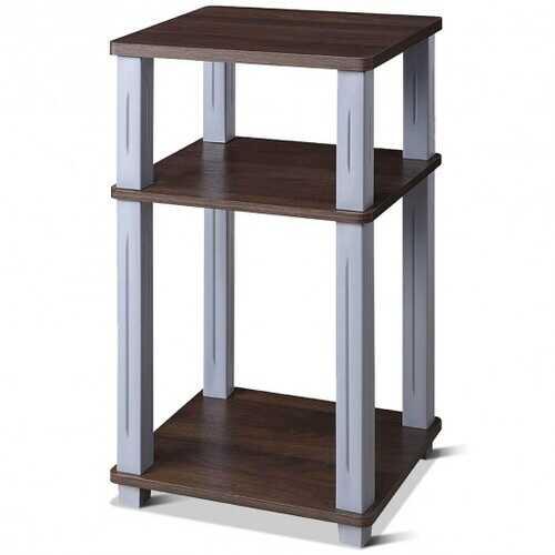 3 Tier End Table Multipurpose Shelf Night Stand Display Shelving-Coffee