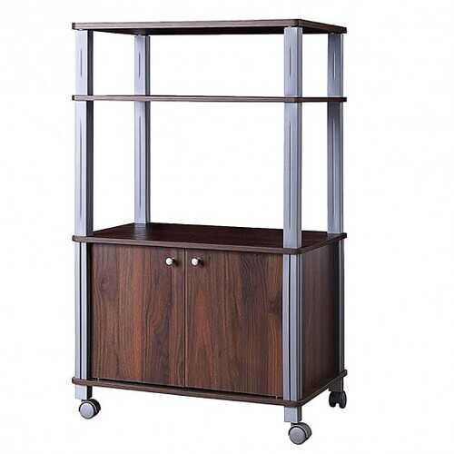 Microwave Rack Stand Rolling Storage Cart-Walnut