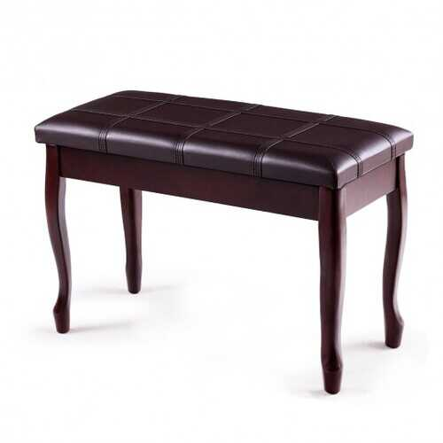 Solid Wood PU Leather Piano Bench with Storage-Black