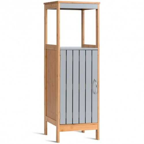 Bathroom Floor Cabinet Freestanding Single Door Bamboo 3-Tier Storage