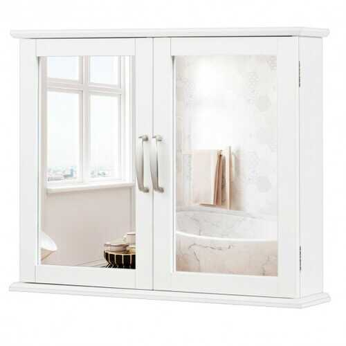 2-Tier Bathroom Wall-Mounted Mirror Storage Cabinet with Handles