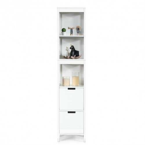 5-Tier Multifunctional  Bathroom Floor Cabine Storage with 2 Drawers