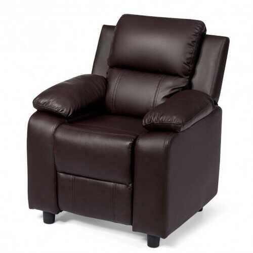 Deluxe Kids Armchair Recliner Headrest Sofa w/ Storage Arms-Brown