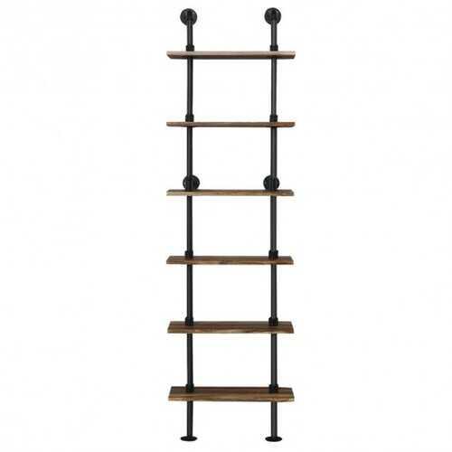 6-Shelf Rustic Vintage Industrial Pipe Wall Shelf