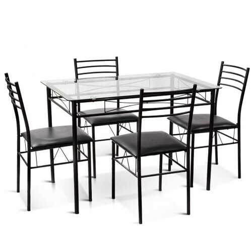 5 Pieces Dining Set Tempered Glass Top Table & 4 Upholstered Chairs