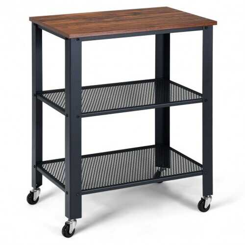 3-Tier Kitchen Utility  Industrial Cart with Storage-Brown