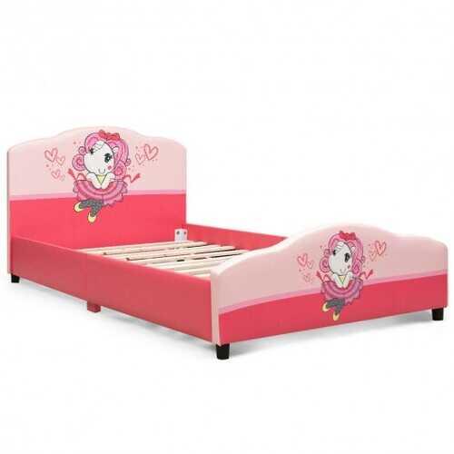 Kids Children Upholstered Platform Toddler Girl Pattern Bed