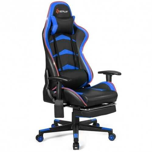 Massage LED Gaming Chair with Lumbar Support & Footrest-Red