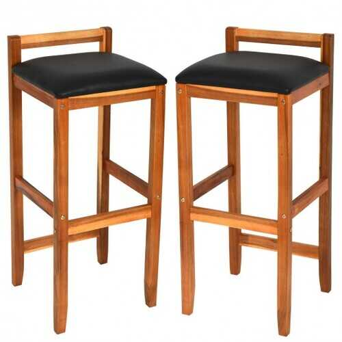 Set of 2 Acacia Solid Wood Counter Height Bar Stool with Cushioned Seat
