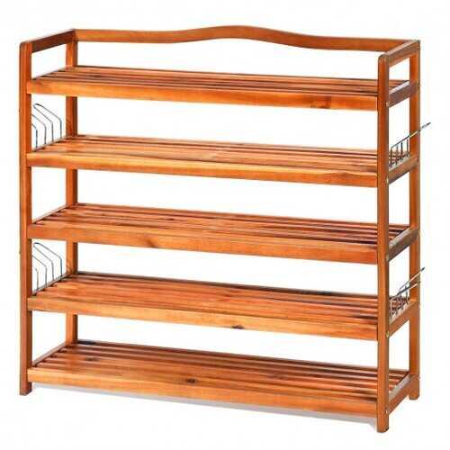5-Tier Wood Shoe Rack Freestanding Large Shoe Storage Organizer