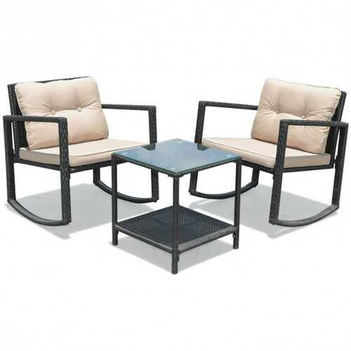 3 Pcs Patio Rattan Set Rocking Chair Cushioned Sofa Garden Furniture-Beige