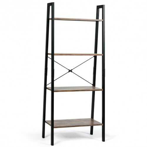 4-Tier Ladder Shelf Ladder Bookcase Bookshelf Display Rack Plant Stand