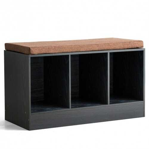 3-Cube Storage Box Organizer Shoe Bench with Padded Cushion