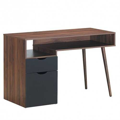 Computer Desk PC Writing Table Drawer and Cabinet with Wood Legs