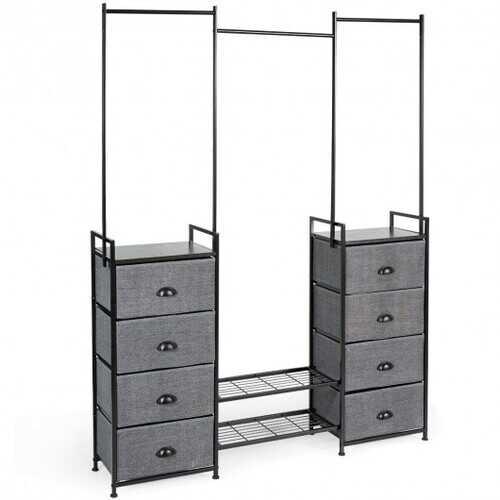 8 Drawer Fabric Dresser with Rack Multifunctional Storage Tower Metal
