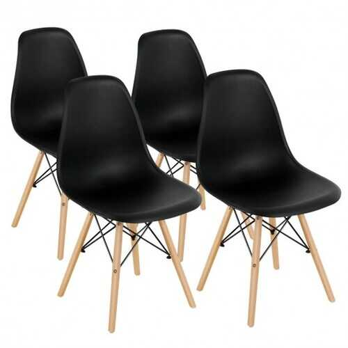 Set of 4 Modern DSW Dining Side Chair Wood Legs-Black