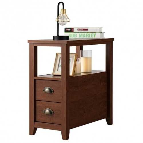 End Table Wooden with 2 Drawers and Shelf Bedside Table-Brown