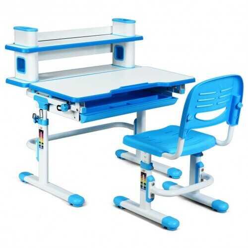 Adjustable Kids Desk and Chair Set with Bookshelf and Tilted Desktop-Blue