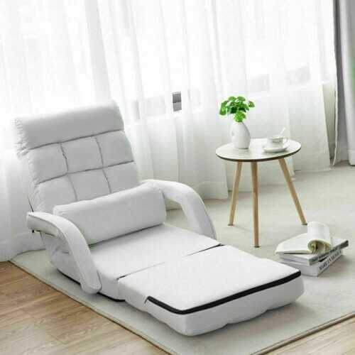 Folding Lazy Floor Chair Sofa with Armrests and Pillow-White