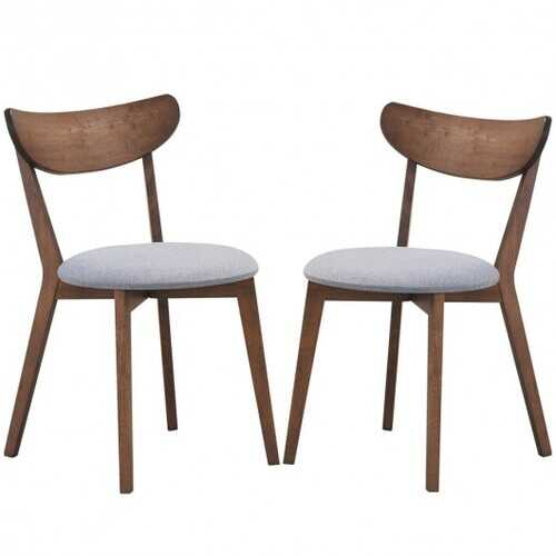 Set of 2 Dining Chair Upholstered Curved Back Side