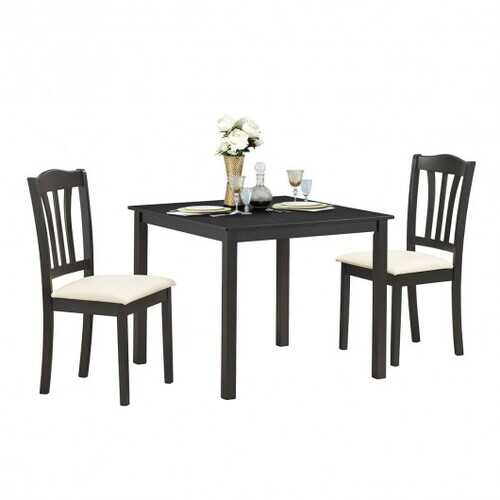 3 Pieces Dining Set Square Table with 2 Padded Wooden Chairs
