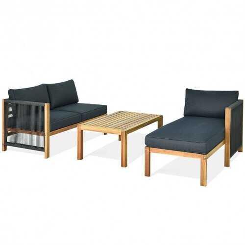 3 Piece Patio Acacia Sofa Set with Nylon Armrest