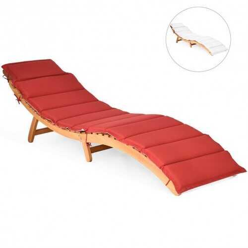 Folding Eucalyptus Outdoor Patio Lounge Chair