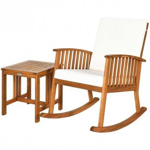 2PCS Acacia Wood Patio Rocking Chair Table Set