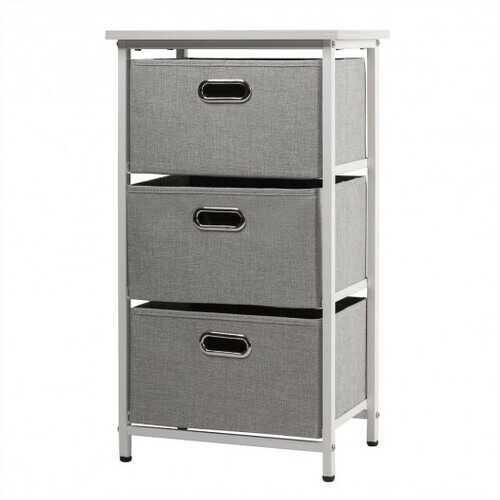 3-Drawer Fabric Dresser Storage Tower Vertical Foldable Pull Bins-White