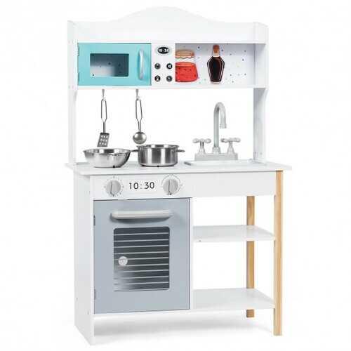 Kids Kitchen Cookware Pretend Cooking Food Play Set