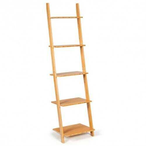 5-Tier Ladder Shelf Modern Bamboo Leaning Bookshelf Ladder Bookcase