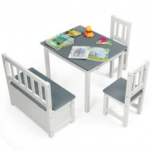 4 PCS Kids Wood Table Chairs Set -Gray