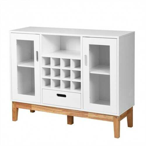 Wood Wine Storage Cabinet Sideboard Console Buffet Server-White