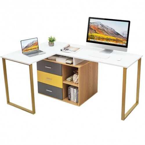 "87"" 2 Person Adjustable L-Shaped Computer Desk"