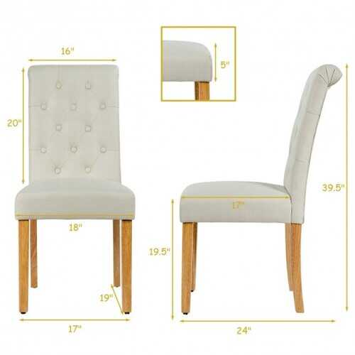 Set of 2 Tufted Dining Chair -Beige