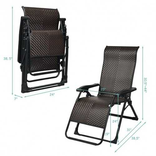 2PCS Patio Rattan Zero Gravity Lounge Chair