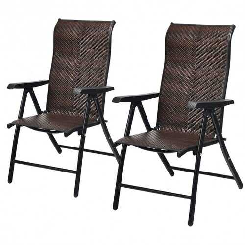 2 Piece Patio Rattan Folding Reclining Chair